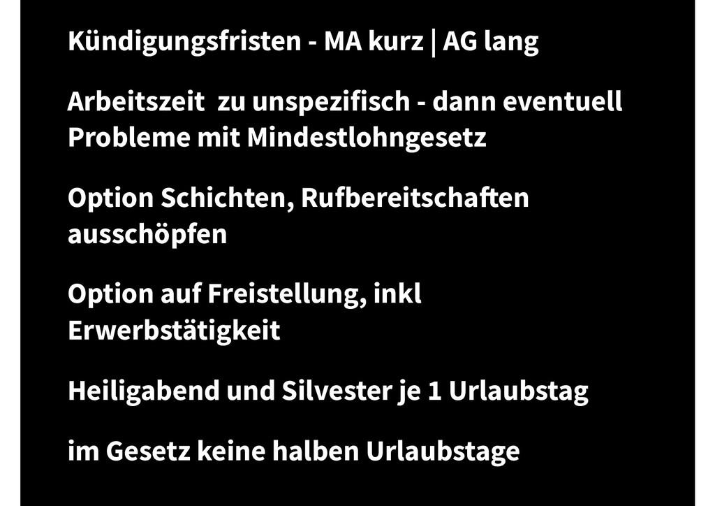 Kündigungsfristen - MA kurz | AG lang Arbeitsze...
