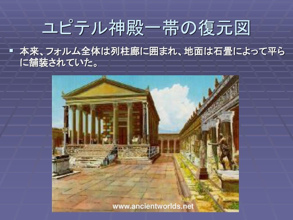 ユピテル神殿一帯の復元図 ▪ 本来、フォルム全体は列柱廊に囲まれ、地面は石畳によって平ら に舗...