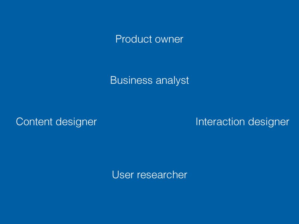 User researcher Interaction designer Content de...