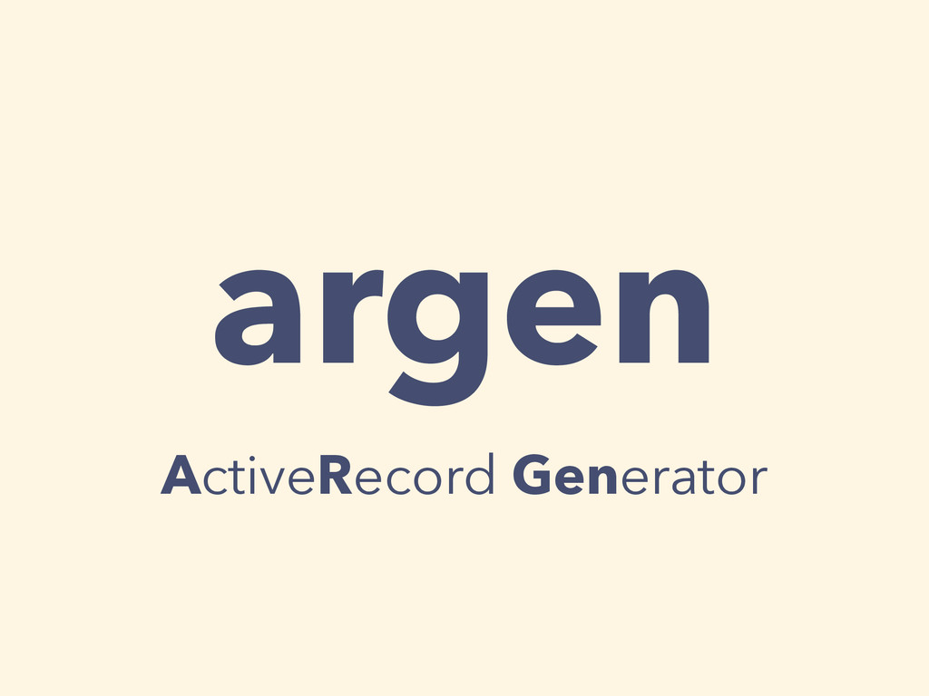 argen ActiveRecord Generator