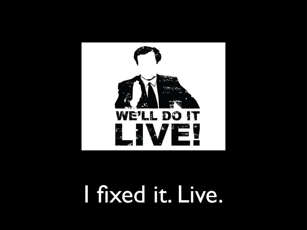 I fixed it. Live.