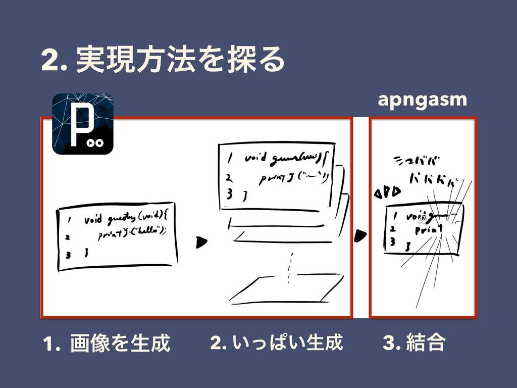 2. ࣮ݱํ๏Λ୳Δ 1. ը૾Λੜ 2. ͍ͬͺ͍ੜ 3. ݁߹ ͋ apngasm
