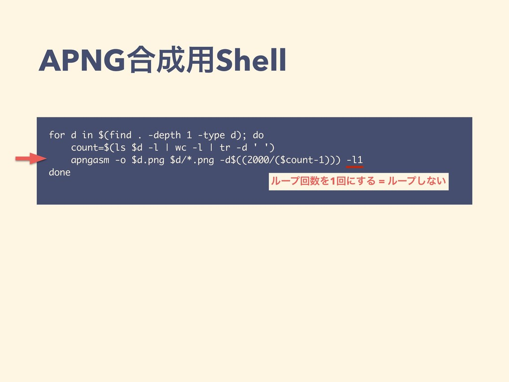 APNG߹੒༻Shell for d in $(find . -depth 1 -type d...
