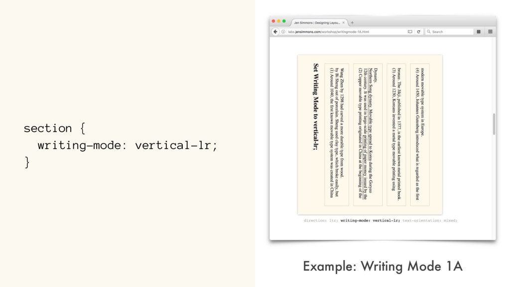 section { writing-mode: vertical-lr; } Example:...