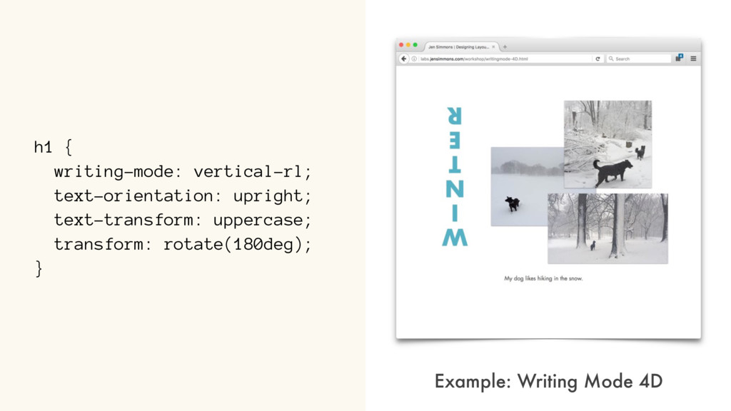 h1 { writing-mode: vertical-rl; text-orientatio...