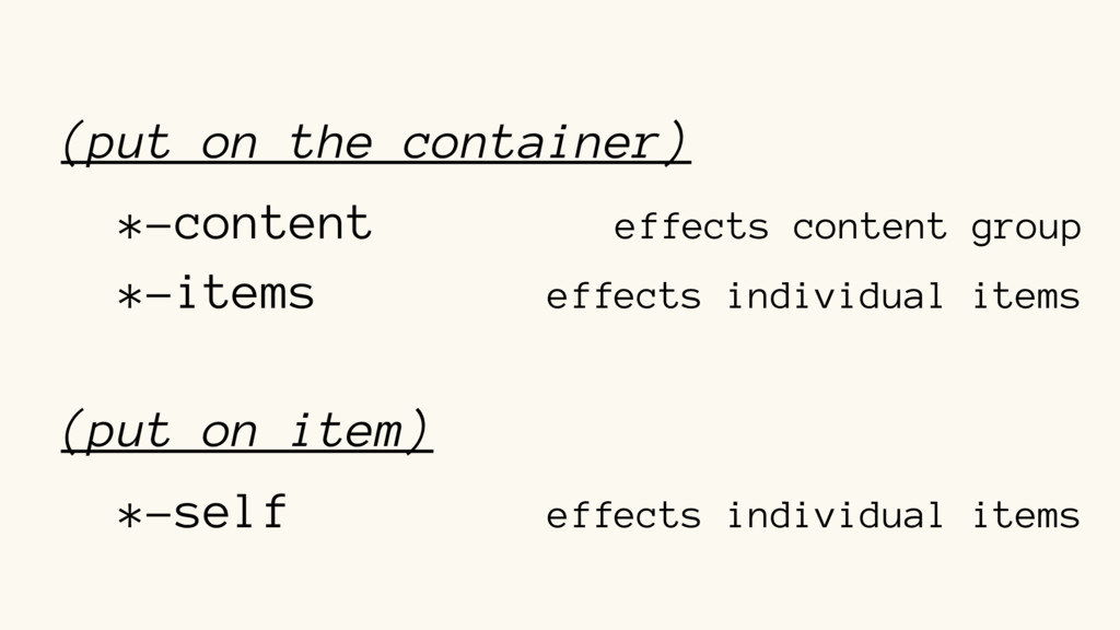 (put on the container) *-content effects conten...