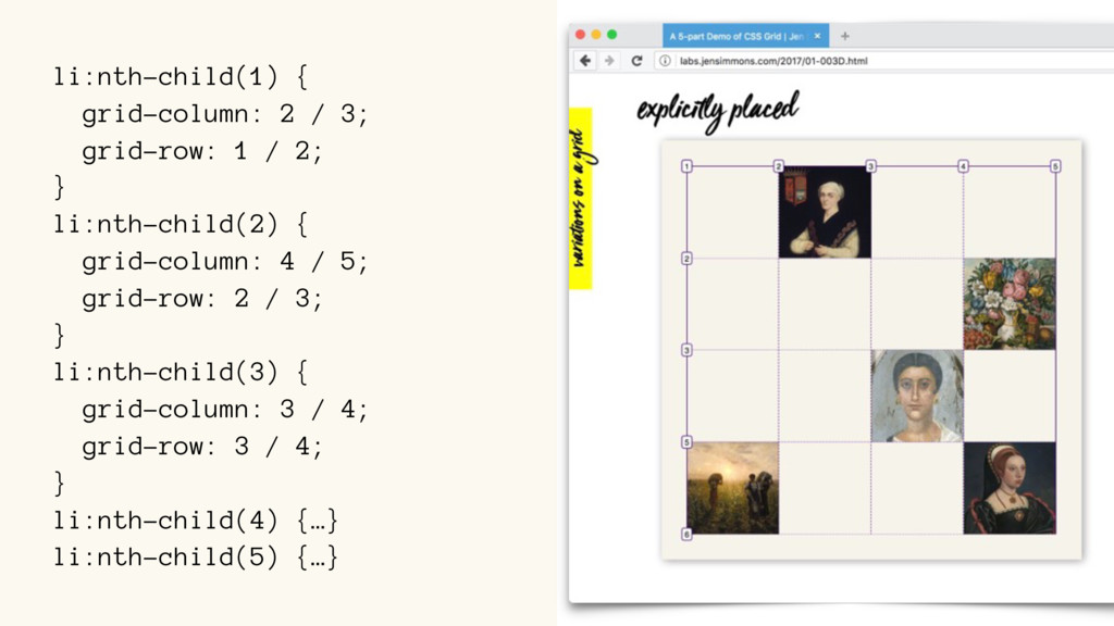 li:nth-child(1) { grid-column: 2 / 3; grid-row:...