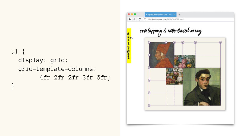 ul { display: grid; grid-template-columns: 4fr ...