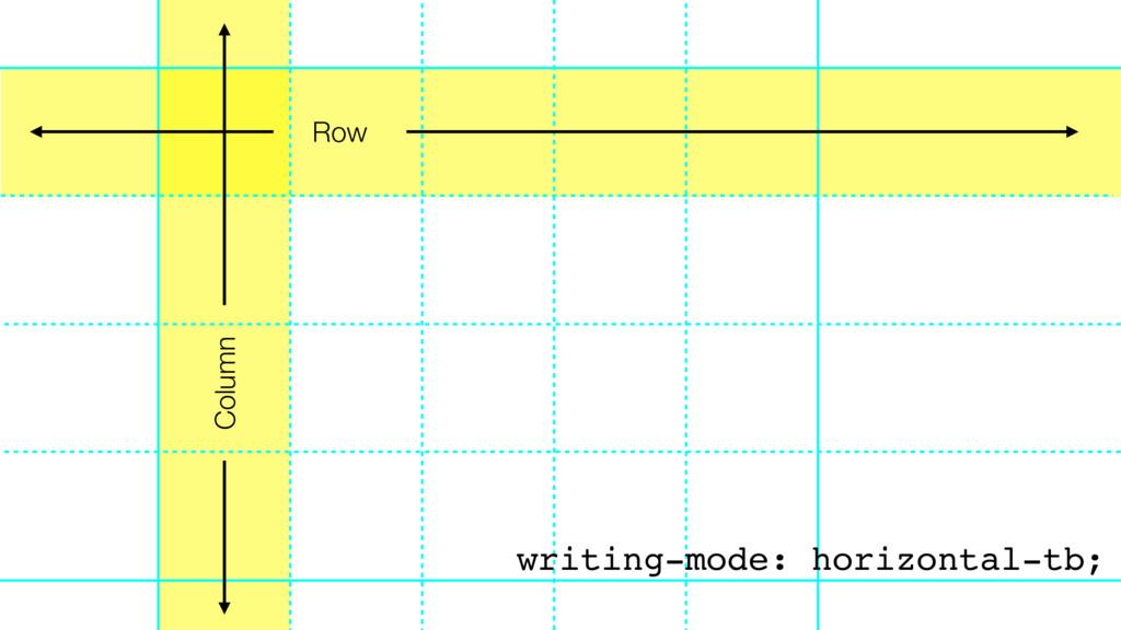 Row Column writing-mode: horizontal-tb;