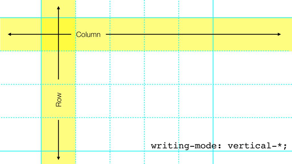 Column Row writing-mode: vertical-*;