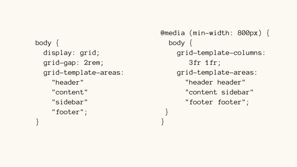 body { display: grid; grid-gap: 2rem; grid-temp...