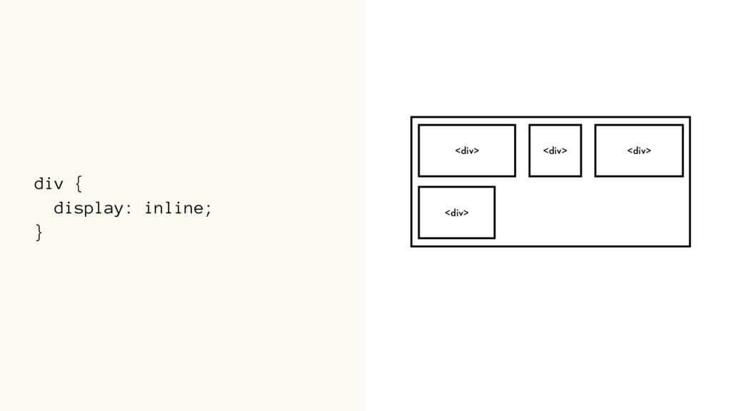 div { display: inline; } <div> <div> <div> <div>