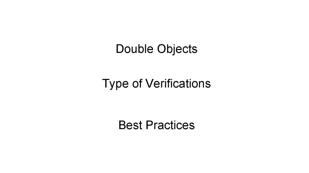 Double Objects Type of Verifications Best Pract...