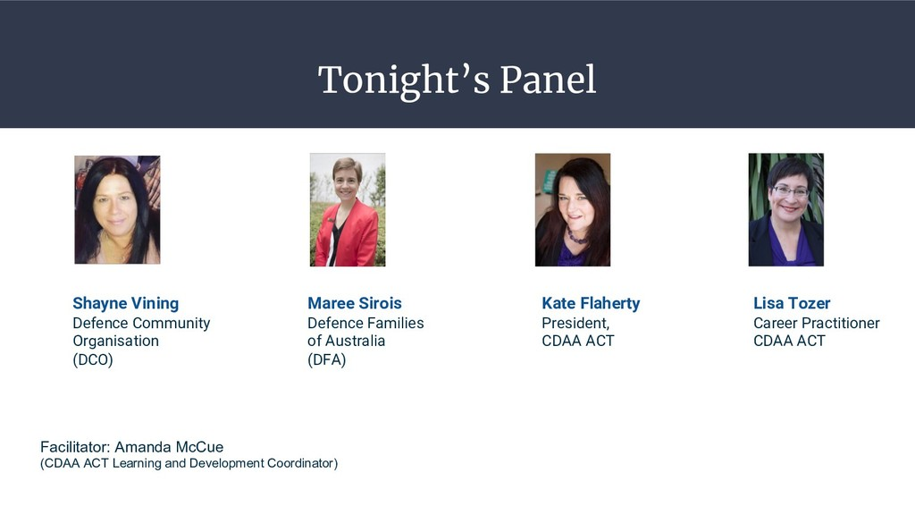 Tonight's Panel Lisa Tozer Career Practitioner ...