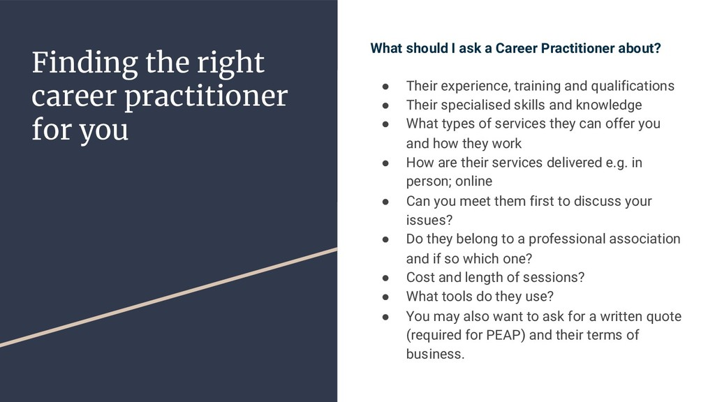Finding the right career practitioner for you W...