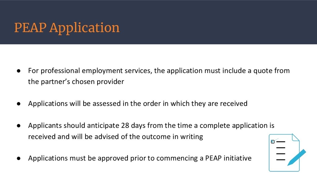 PEAP Application ● For professional employment ...