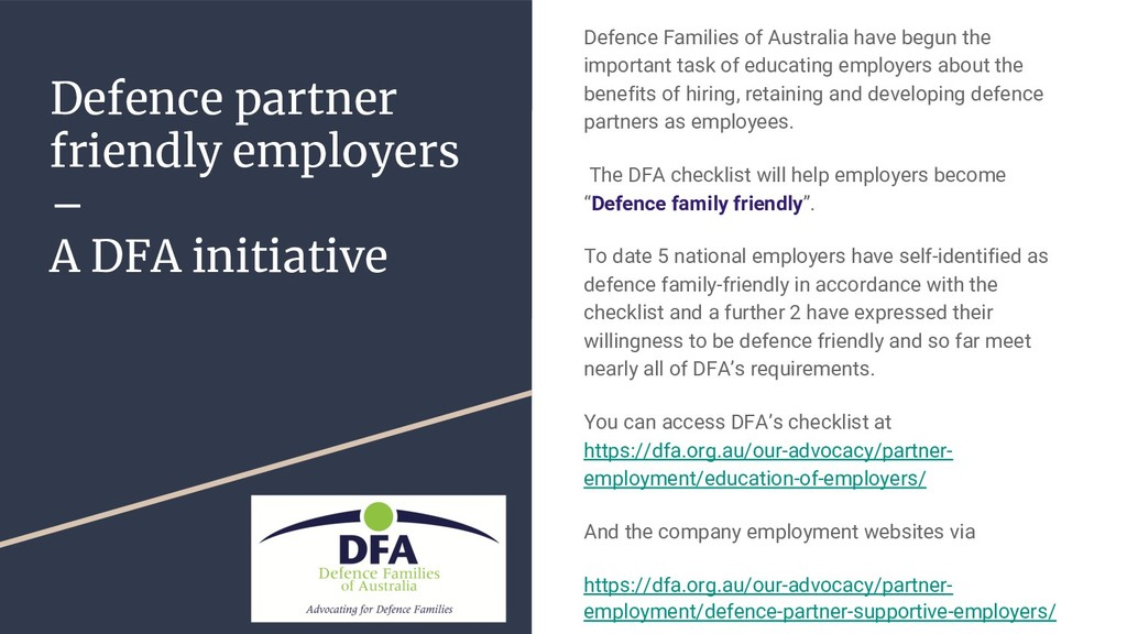 Defence partner friendly employers – A DFA init...