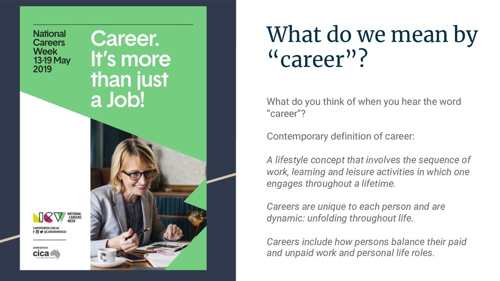 "What do we mean by ""career""? What do you think ..."