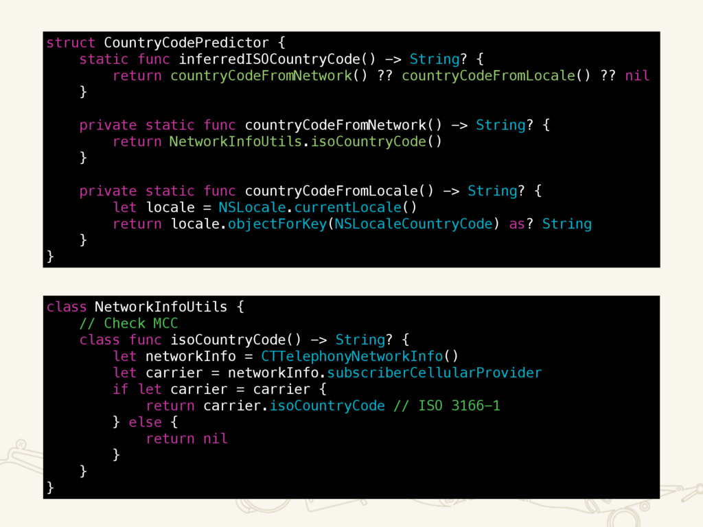 struct CountryCodePredictor { static func infer...