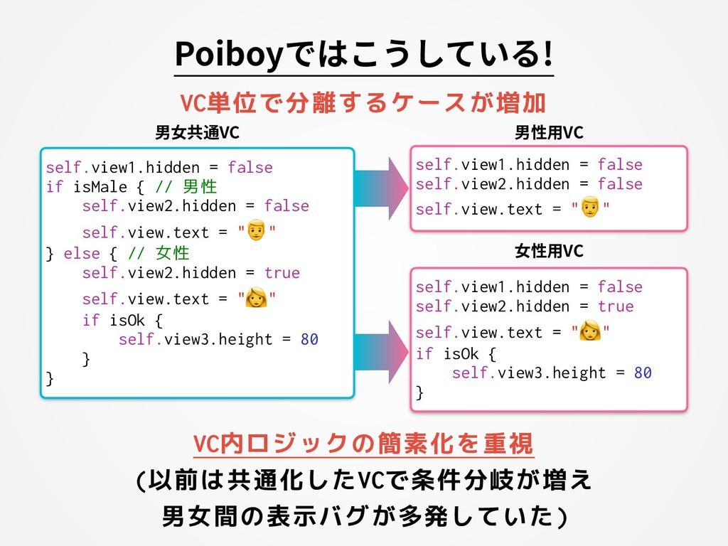 Poiboyではこうしている! VC内ロジックの簡素化を重視 (以前は共通化したVCで条件分岐...