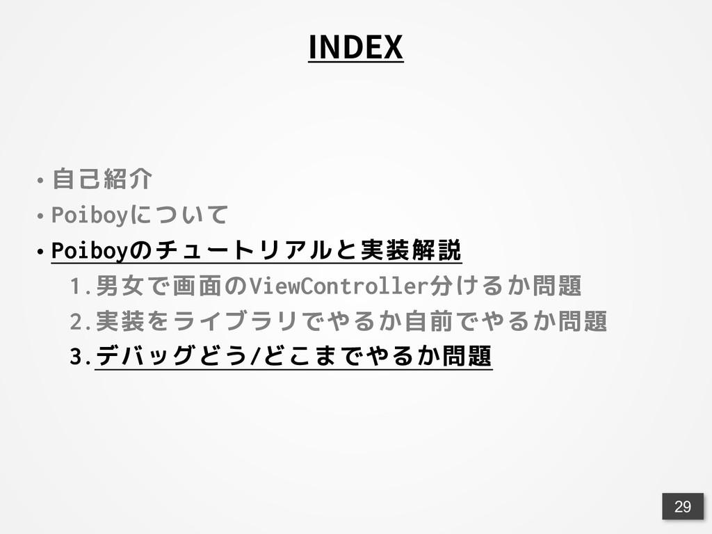 <29 INDEX • 自己紹介 • Poiboyについて • Poiboyのチュートリアルと...