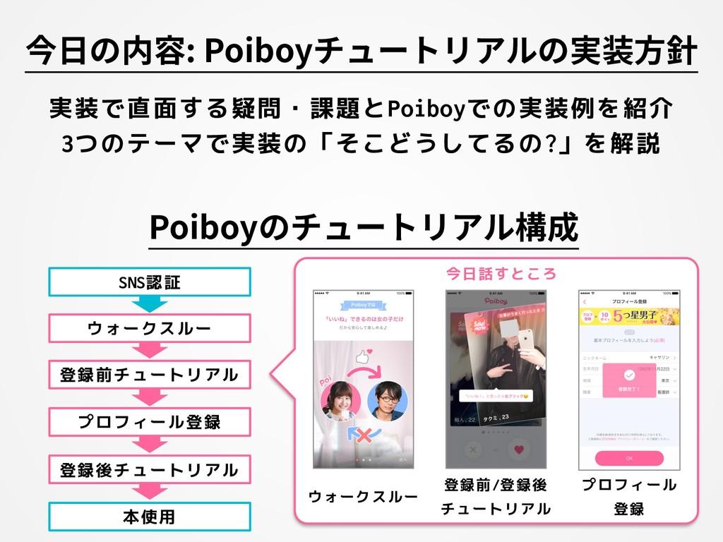 今⽇の内容: Poiboyチュートリアルの実装⽅針 実装で直面する疑問・課題とPoiboyでの...