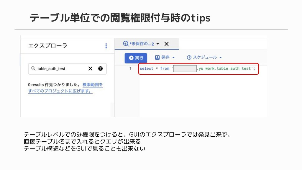 テーブル単位での閲覧権限付与時のtips テーブルレベルでのみ権限をつけると、GUIのエクスプ...
