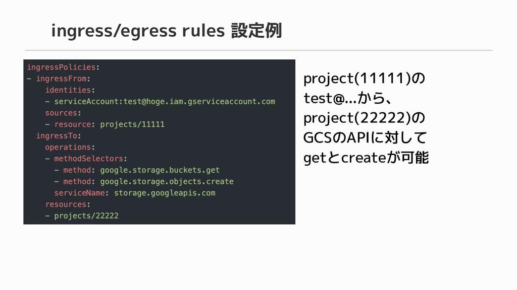 project(11111)の test@...から、 project(22222)の GCS...