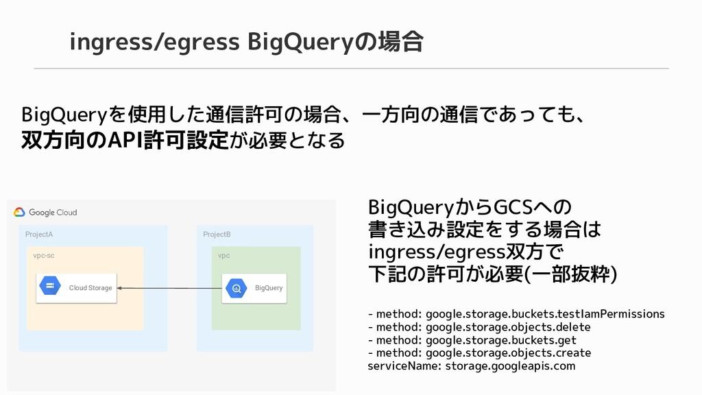 ingress/egress BigQueryの場合 BigQueryを使用した通信許可の場合...