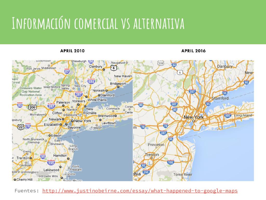 Información comercial vs alternativa Fuentes: h...