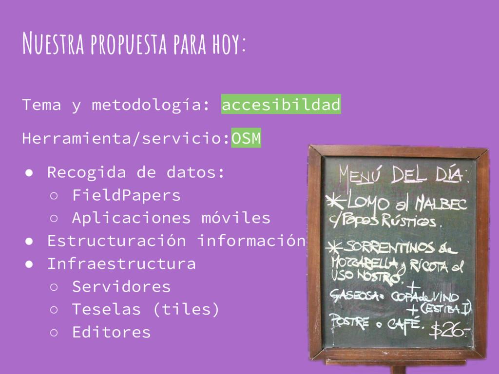 Nuestra propuesta para hoy: Tema y metodología:...