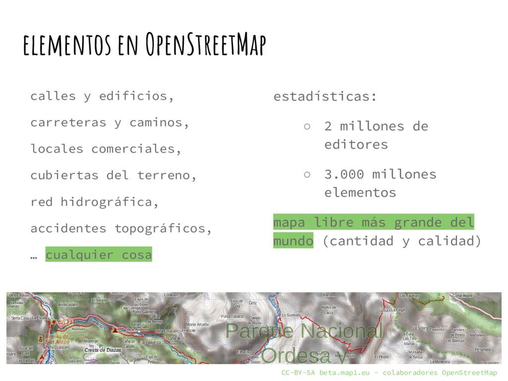 elementos en OpenStreetMap calles y edificios, ...