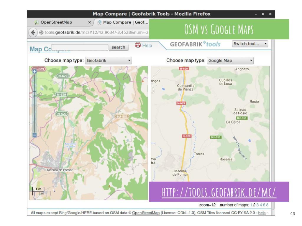43 OSM vs Google Maps http://tools.geofabrik.de...