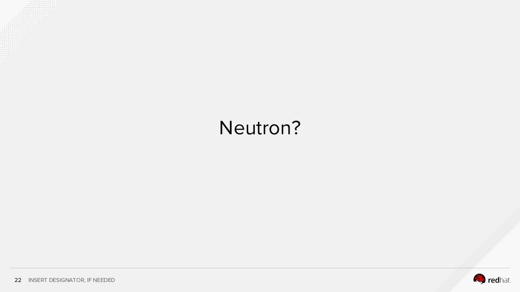 INSERT DESIGNATOR, IF NEEDED Neutron? 22