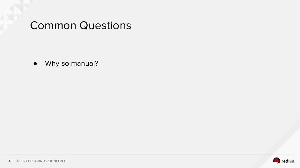 INSERT DESIGNATOR, IF NEEDED 43 Common Question...
