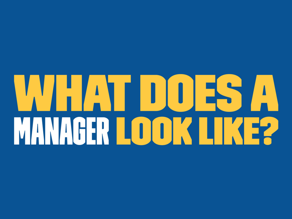 What does a manager look like?