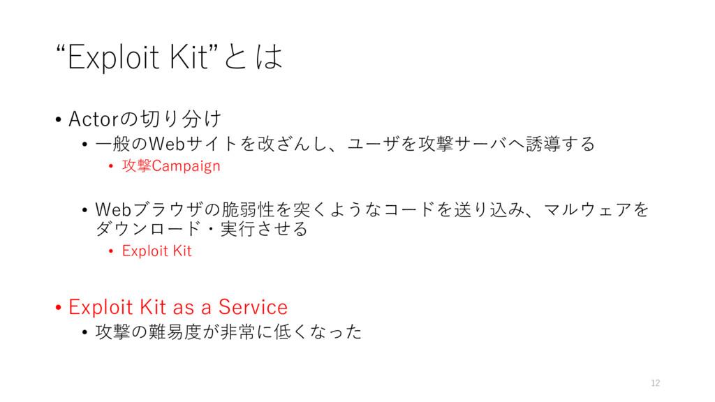 """""""Exploit Kit""""とは • Actorの切り分け • 一般のWebサイトを改ざんし、ユ..."""