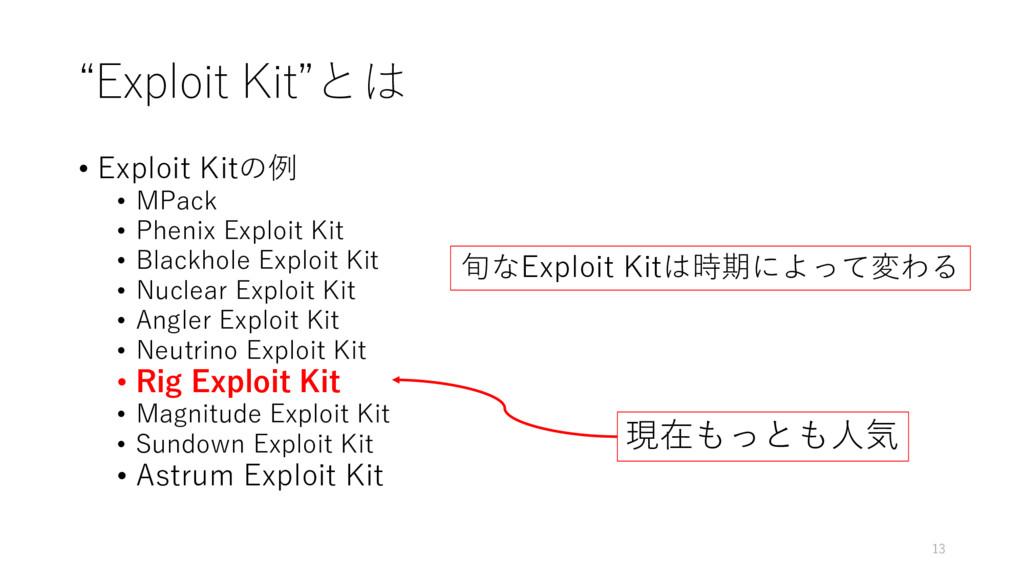"""""""Exploit Kit""""とは • Exploit Kitの例 • MPack • Pheni..."""