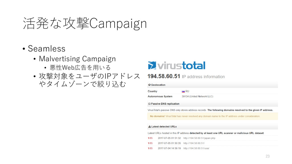 活発な攻撃Campaign • Seamless • Malvertising Campaig...