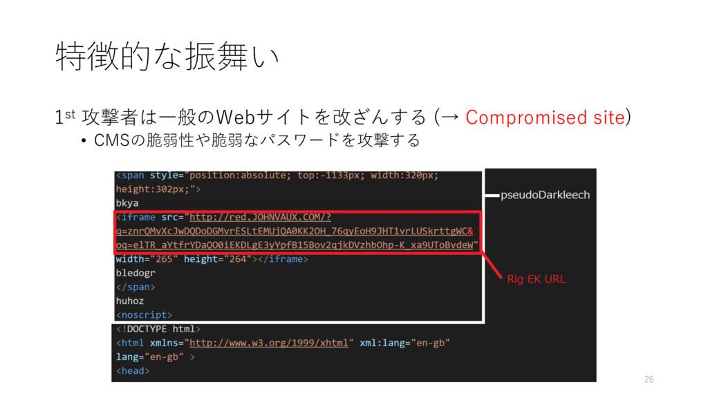 特徴的な振舞い 1st 攻撃者は一般のWebサイトを改ざんする (→ Compromised ...