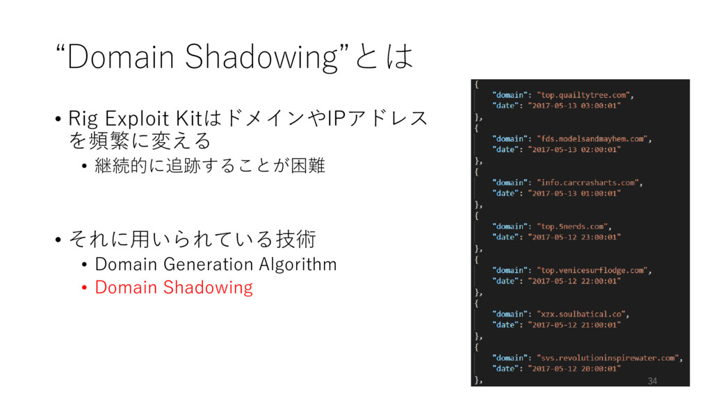 """Domain Shadowing""とは • Rig Exploit KitはドメインやIPア..."