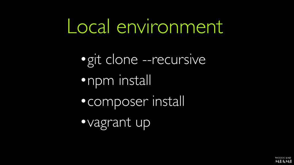 Local environment •git clone --recursive •npm i...