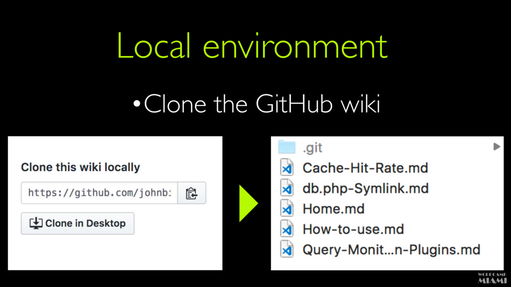 Local environment •Clone the GitHub wiki