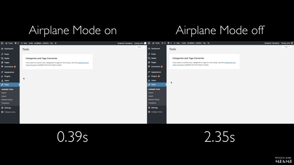 Airplane Mode on Airplane Mode off 0.39s 2.35s