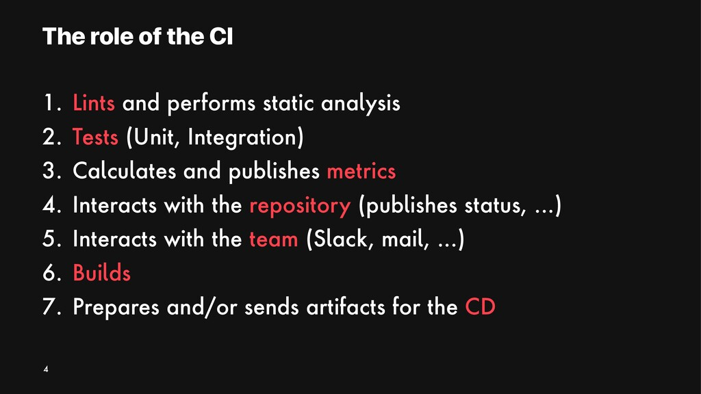 The role of the CI 1. Lints and performs static...