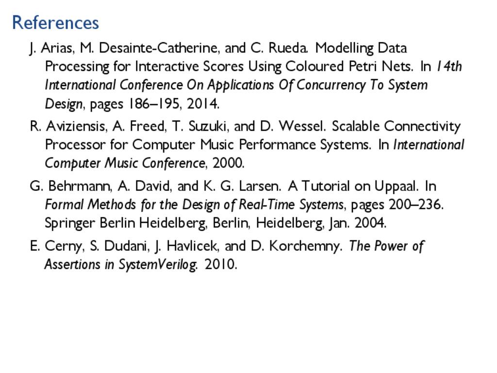 References J. Arias, M. Desainte-Catherine, and...