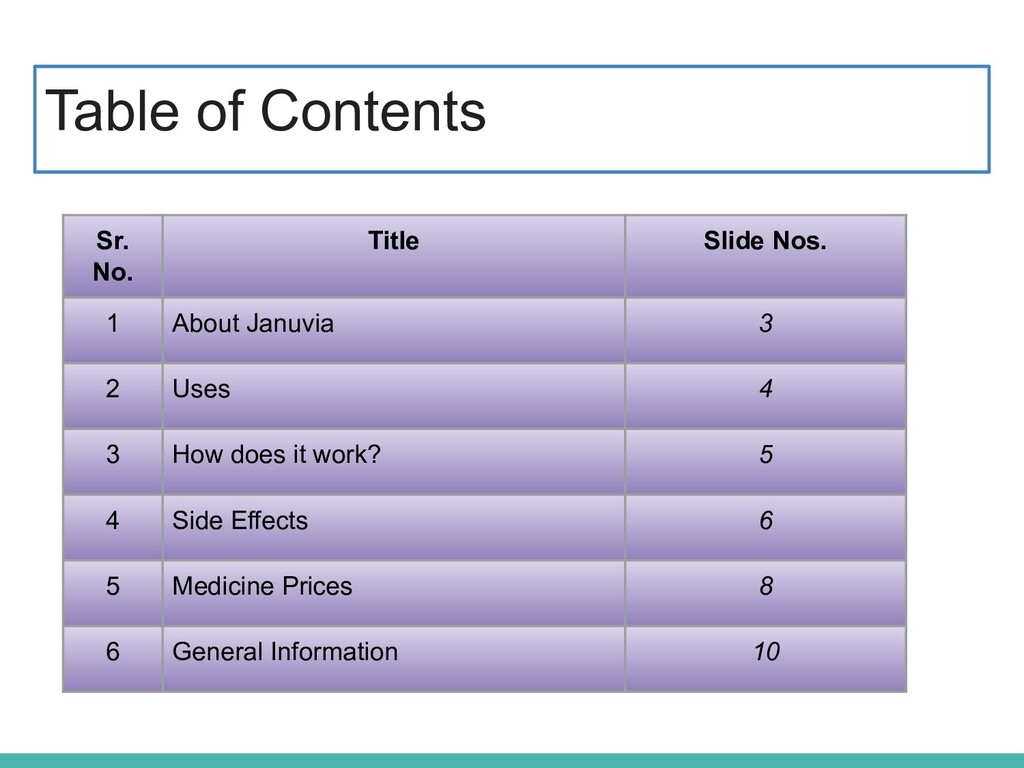 Table of Contents Sr. No. Title Slide Nos. 1 Ab...