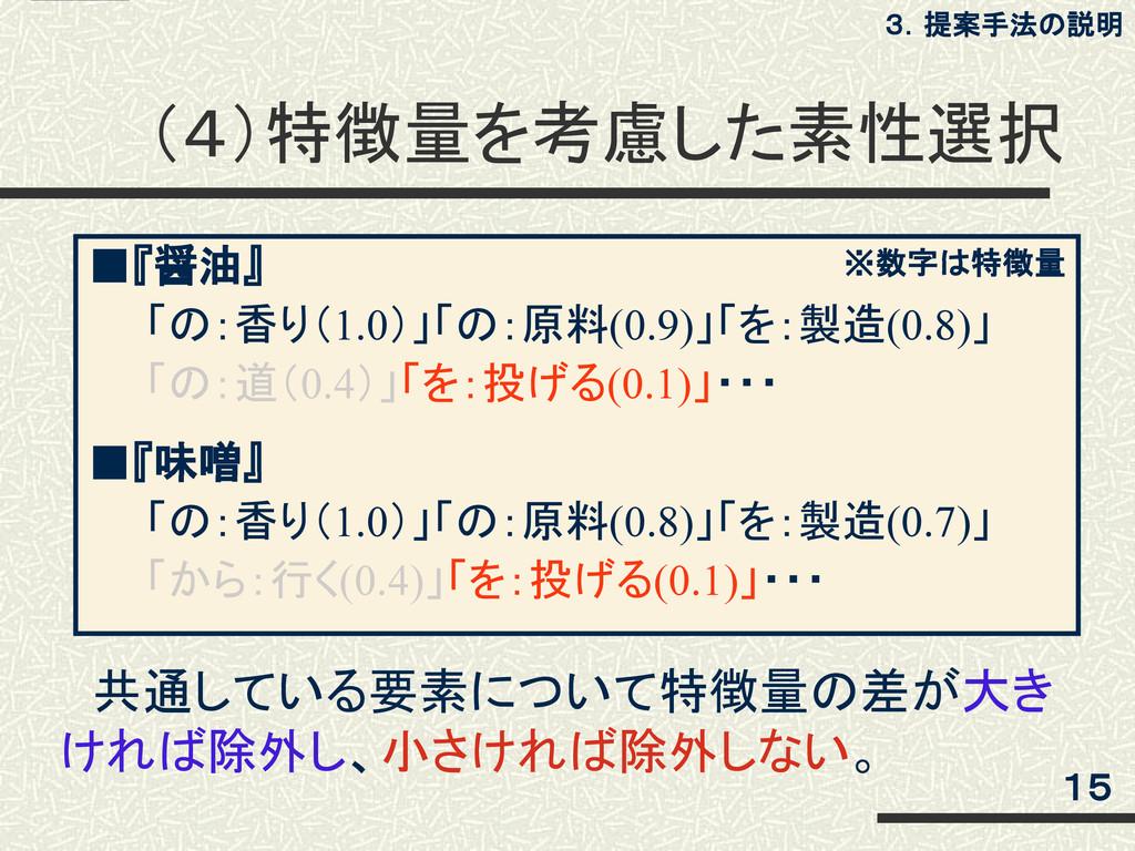 (4)特徴量を考慮した素性選択 ■『醤油』   「の:香り(1.0)」「の:原料(0.9)」「...