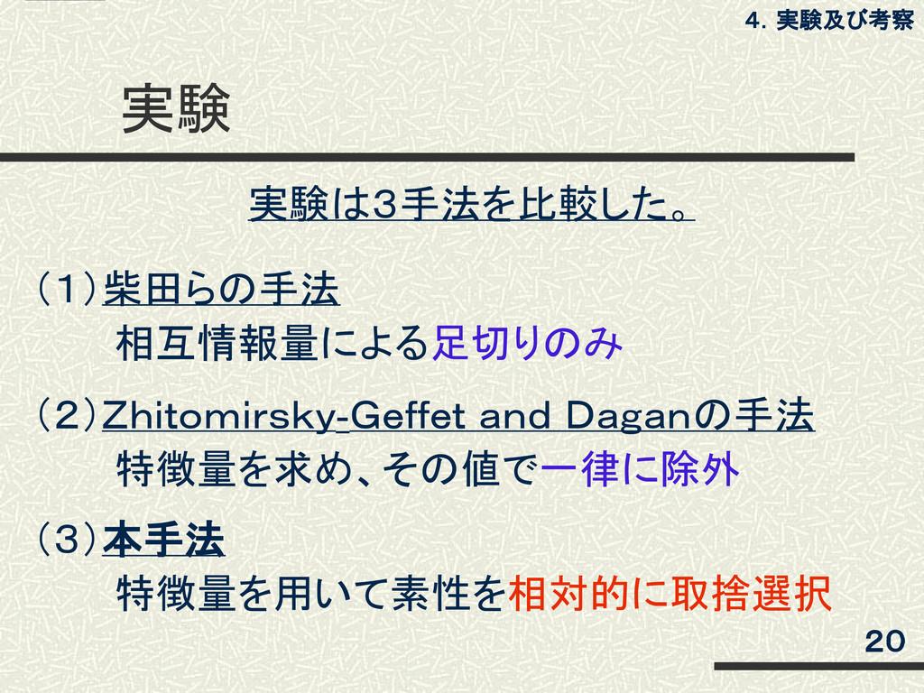 実験 (1)柴田らの手法    相互情報量による足切りのみ (2)Zhitomirsky-Ge...
